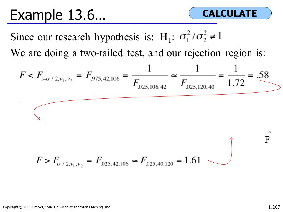 Example 13.6… Since our research hypothesis is: H1: