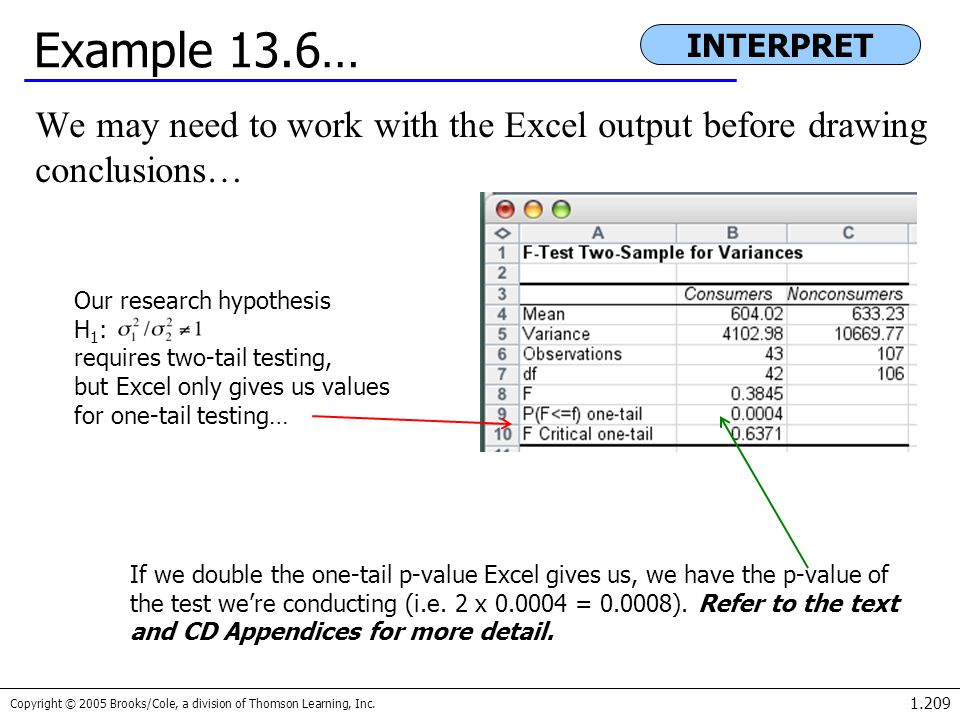 Example 13.6… INTERPRET. We may need to work with the Excel output before drawing conclusions… Our research hypothesis.