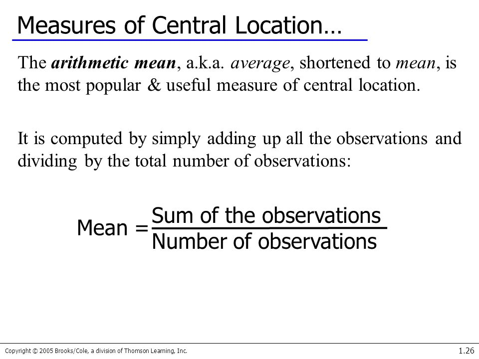 Measures of Central Location…