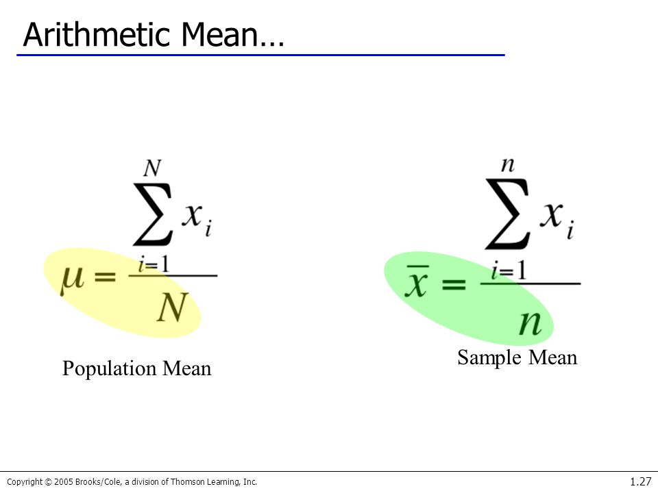 Arithmetic Mean… Sample Mean Population Mean