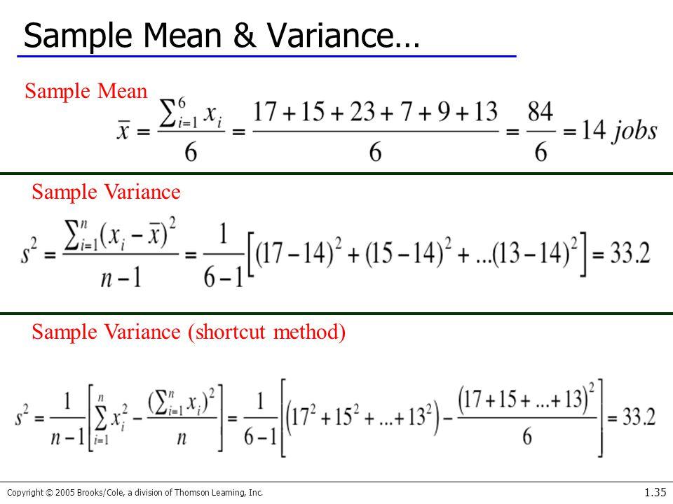 Sample Mean & Variance…