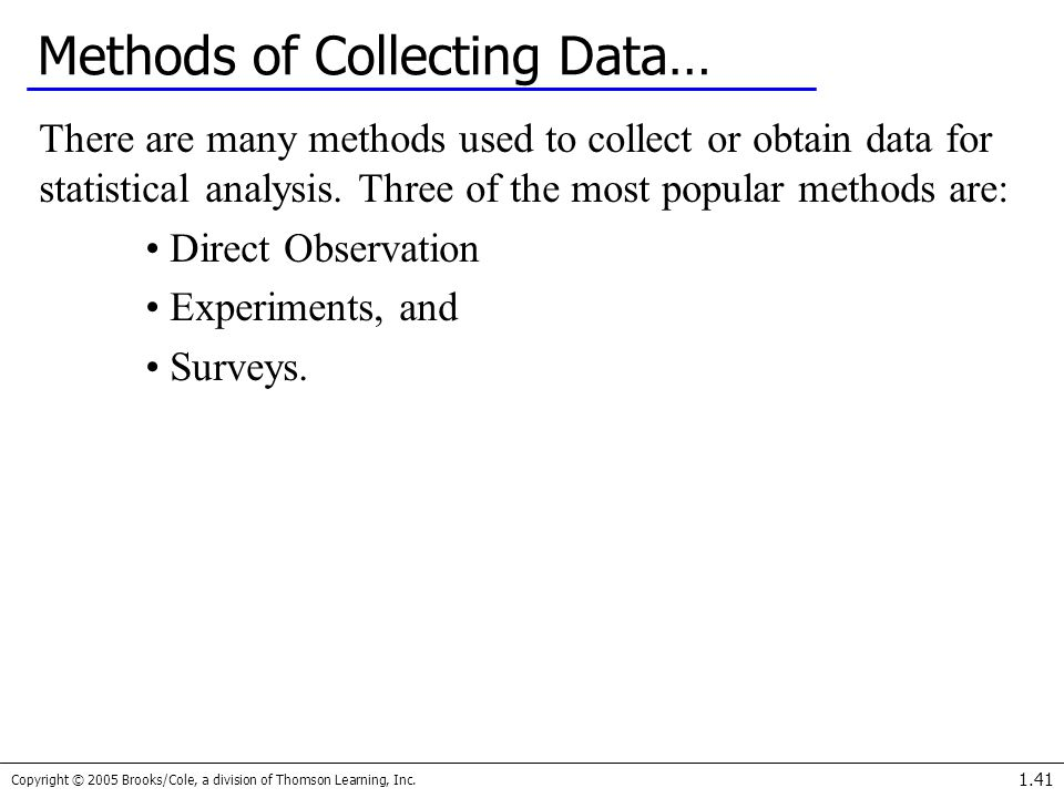 Methods of Collecting Data…