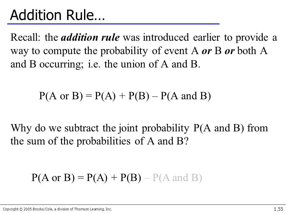Addition Rule…
