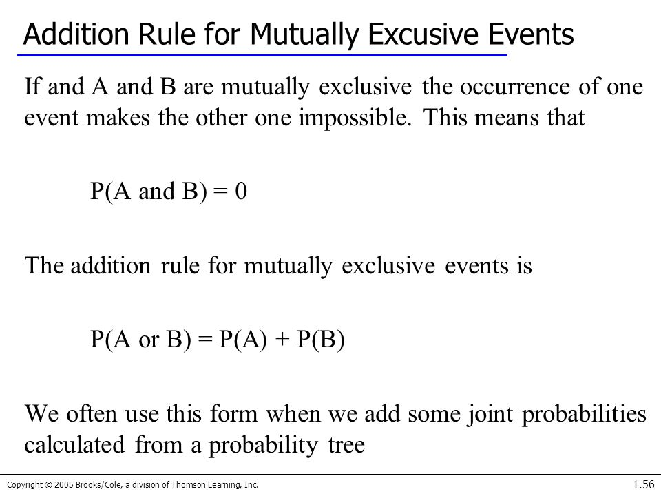 Addition Rule for Mutually Excusive Events