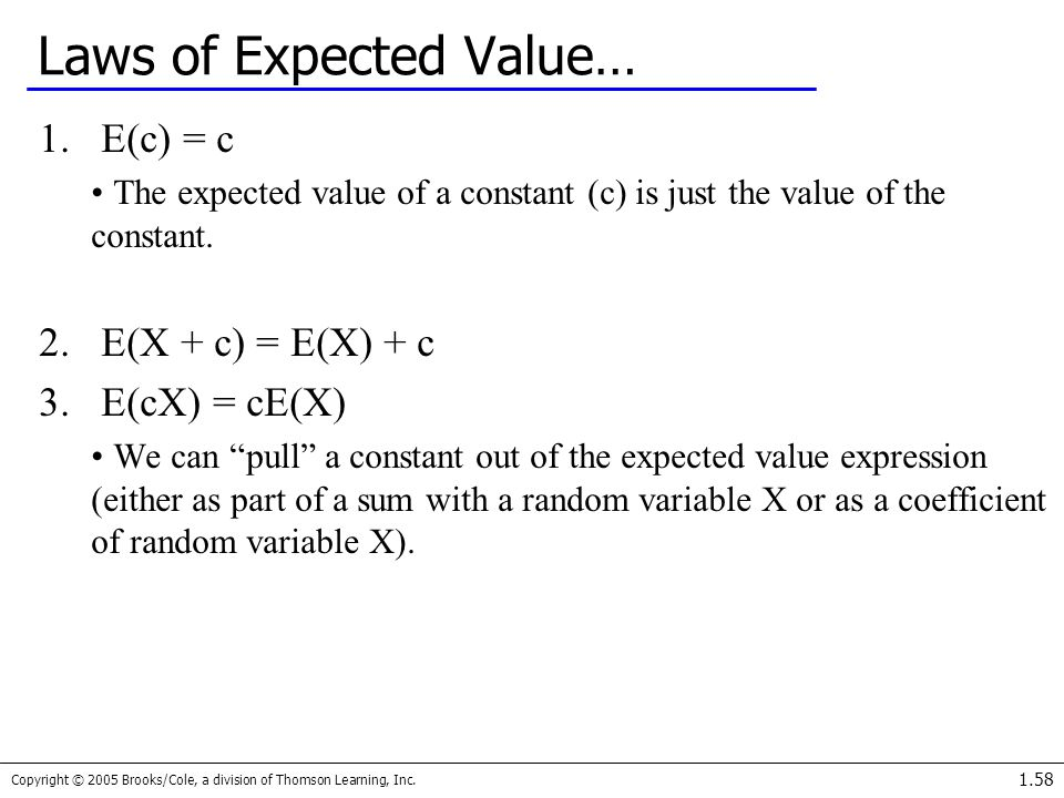 Laws of Expected Value…