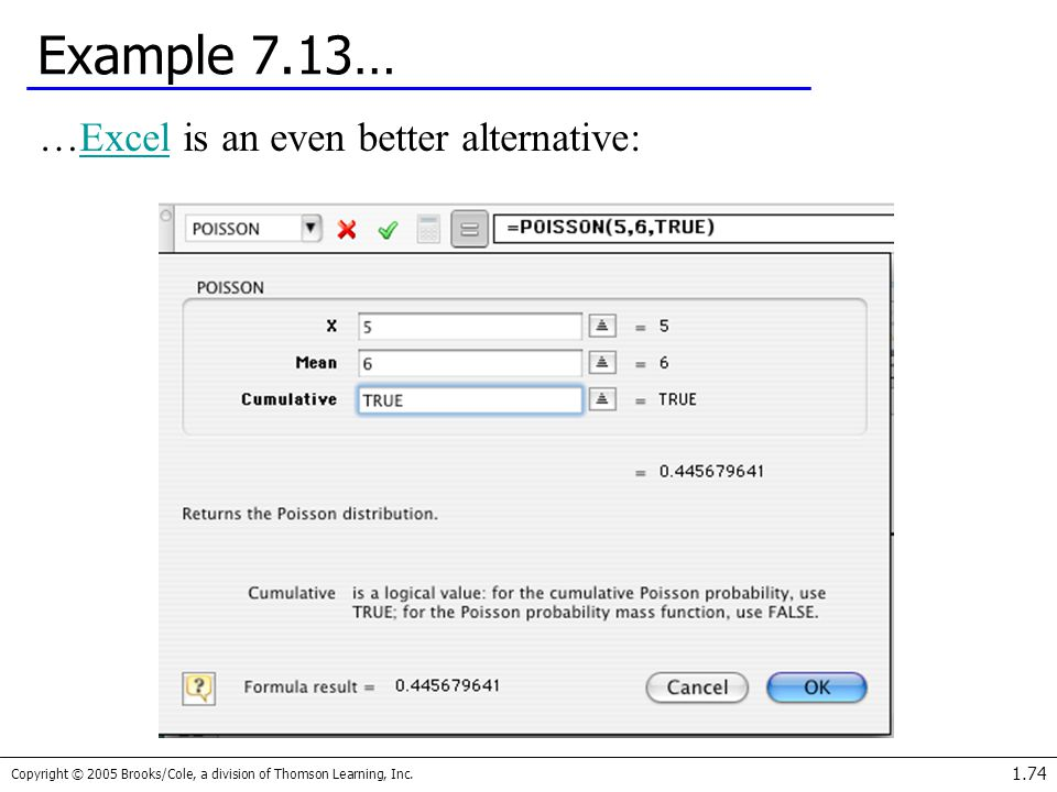Example 7.13… …Excel is an even better alternative: