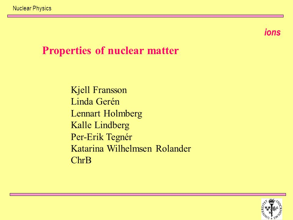 Properties of nuclear matter