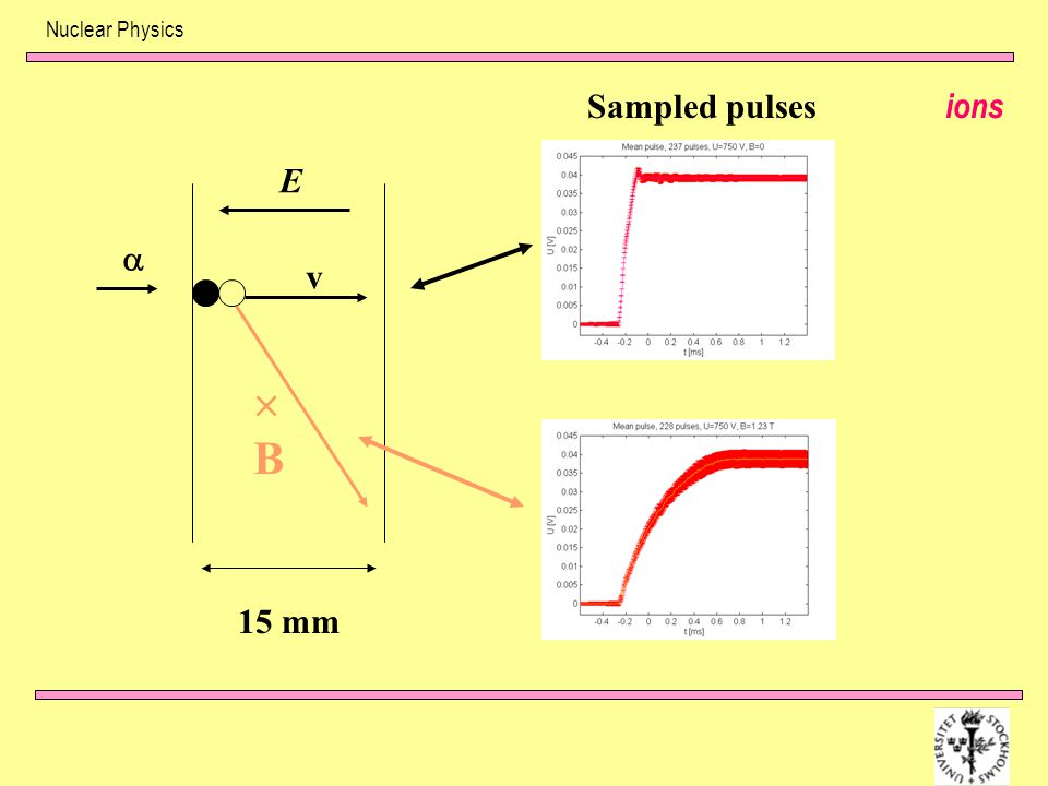 Nuclear Physics Sampled pulses ions E  v  B 15 mm