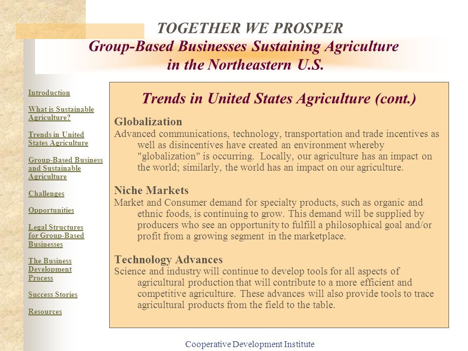 Trends in United States Agriculture (cont.)