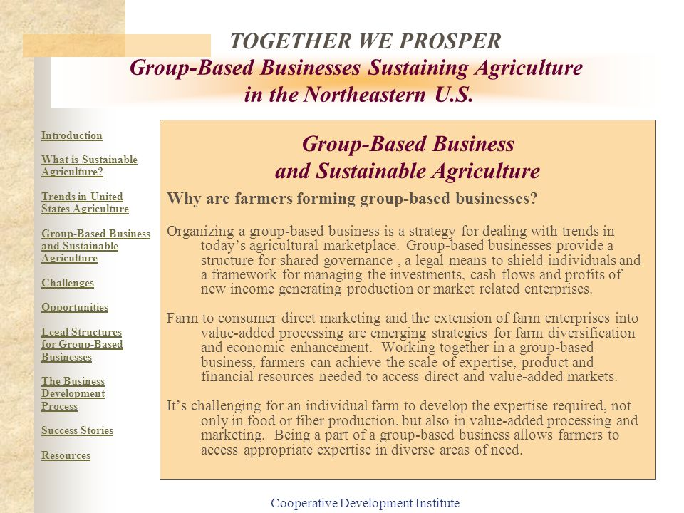 Group-Based Business and Sustainable Agriculture