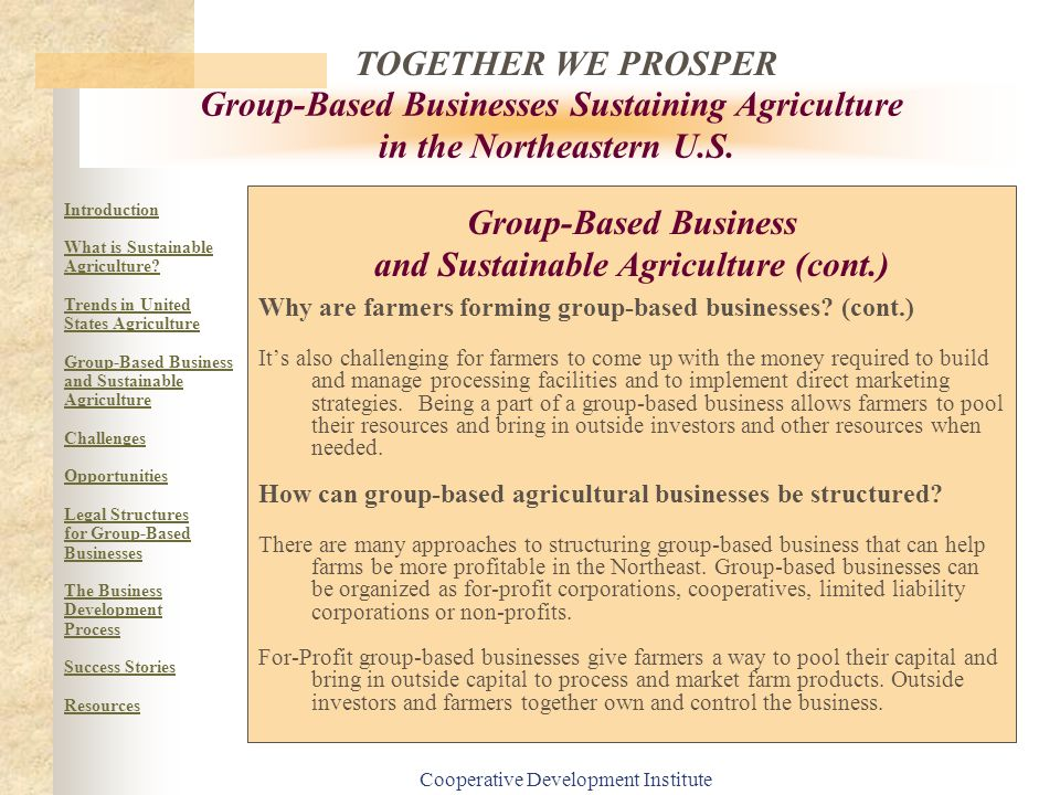 Group-Based Business and Sustainable Agriculture (cont.)