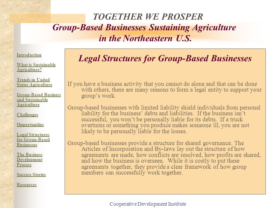 Legal Structures for Group-Based Businesses