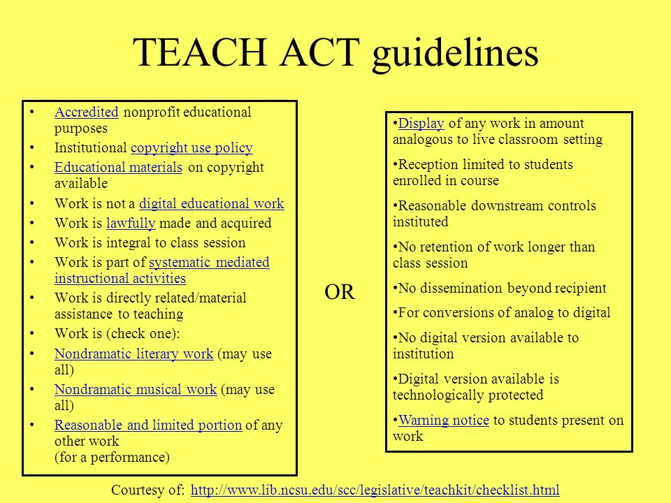 TEACH ACT guidelines OR Accredited nonprofit educational purposes