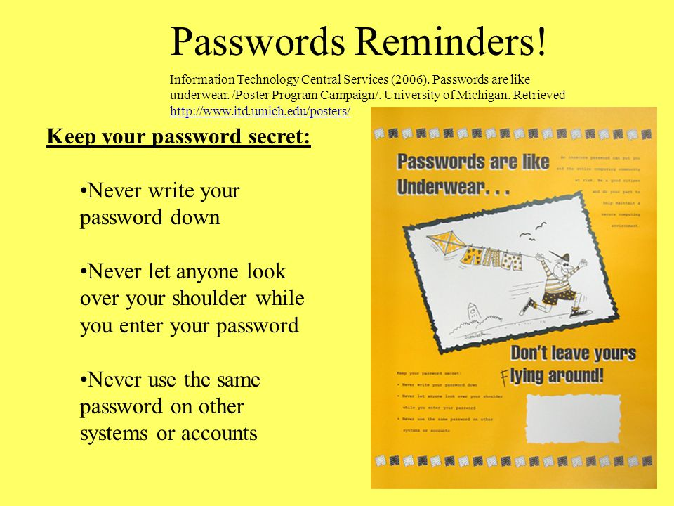 Passwords Reminders! Keep your password secret: