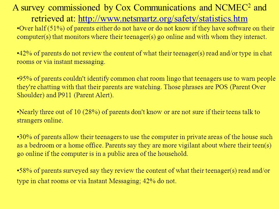 A survey commissioned by Cox Communications and NCMEC2 and retrieved at: http://www.netsmartz.org/safety/statistics.htm