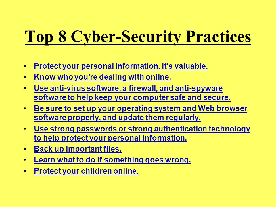 Top 8 Cyber-Security Practices