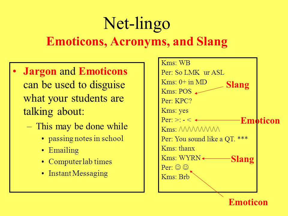 Net-lingo Emoticons, Acronyms, and Slang