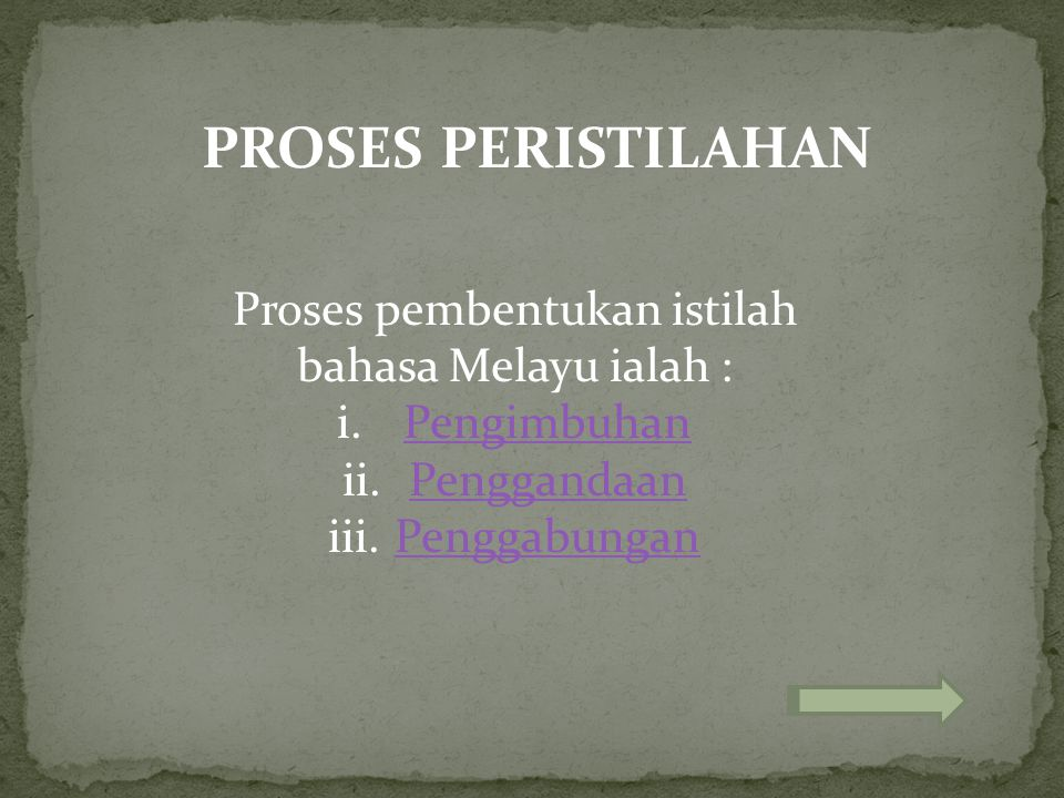 Proses pembentukan istilah bahasa Melayu ialah :