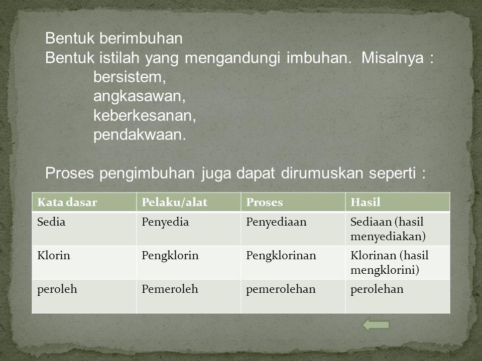 Bentuk istilah yang mengandungi imbuhan. Misalnya : bersistem,