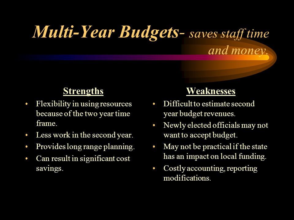 Multi-Year Budgets- saves staff time and money.