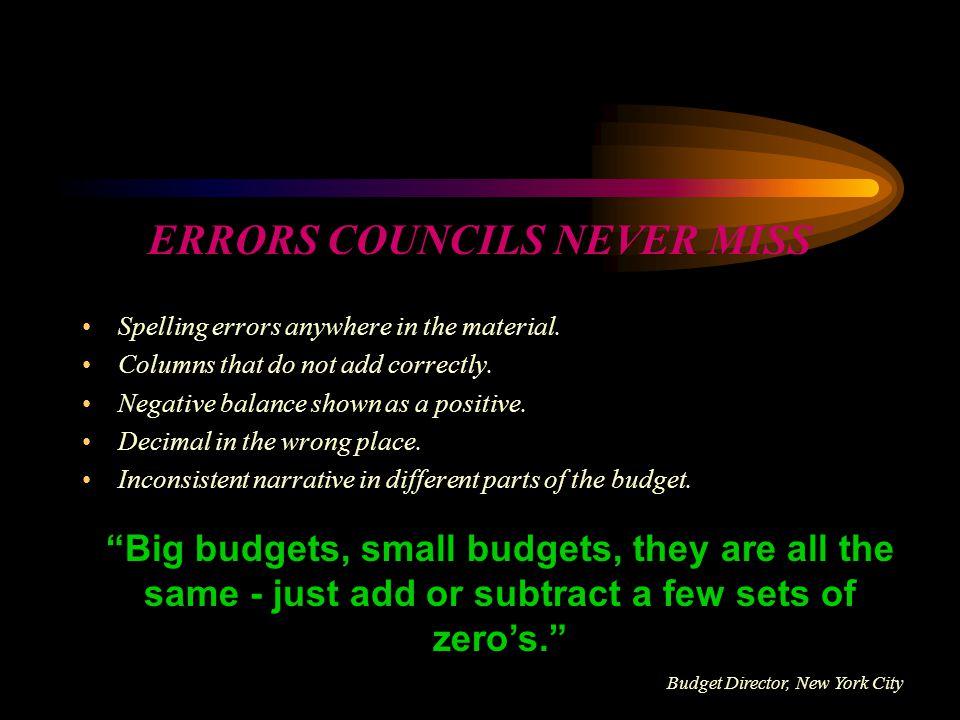 ERRORS COUNCILS NEVER MISS