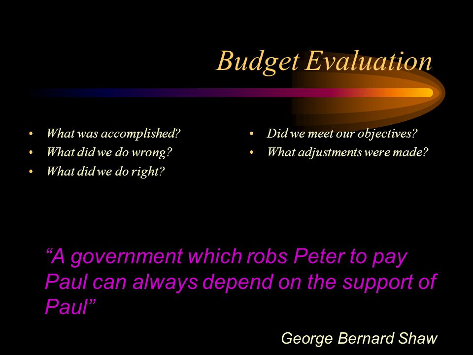 Budget Evaluation What was accomplished What did we do wrong What did we do right Did we meet our objectives