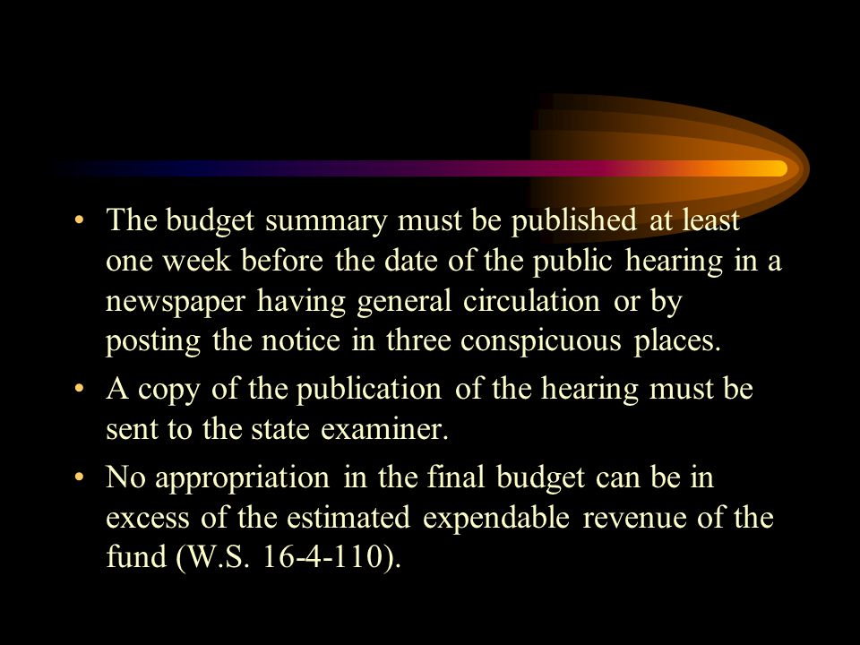 The budget summary must be published at least one week before the date of the public hearing in a newspaper having general circulation or by posting the notice in three conspicuous places.