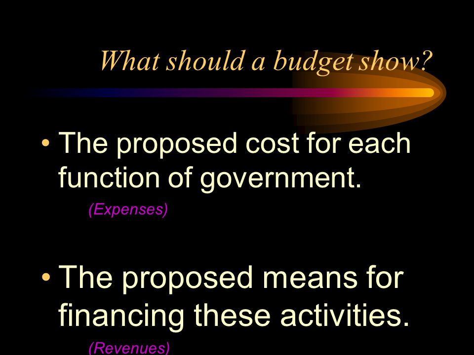 What should a budget show