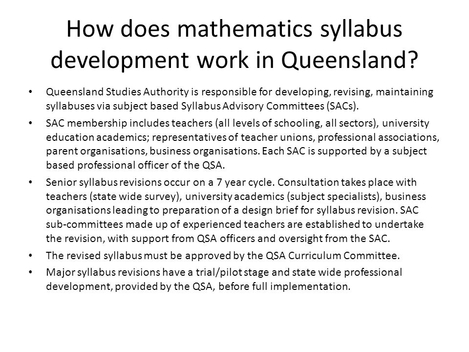 How does mathematics syllabus development work in Queensland