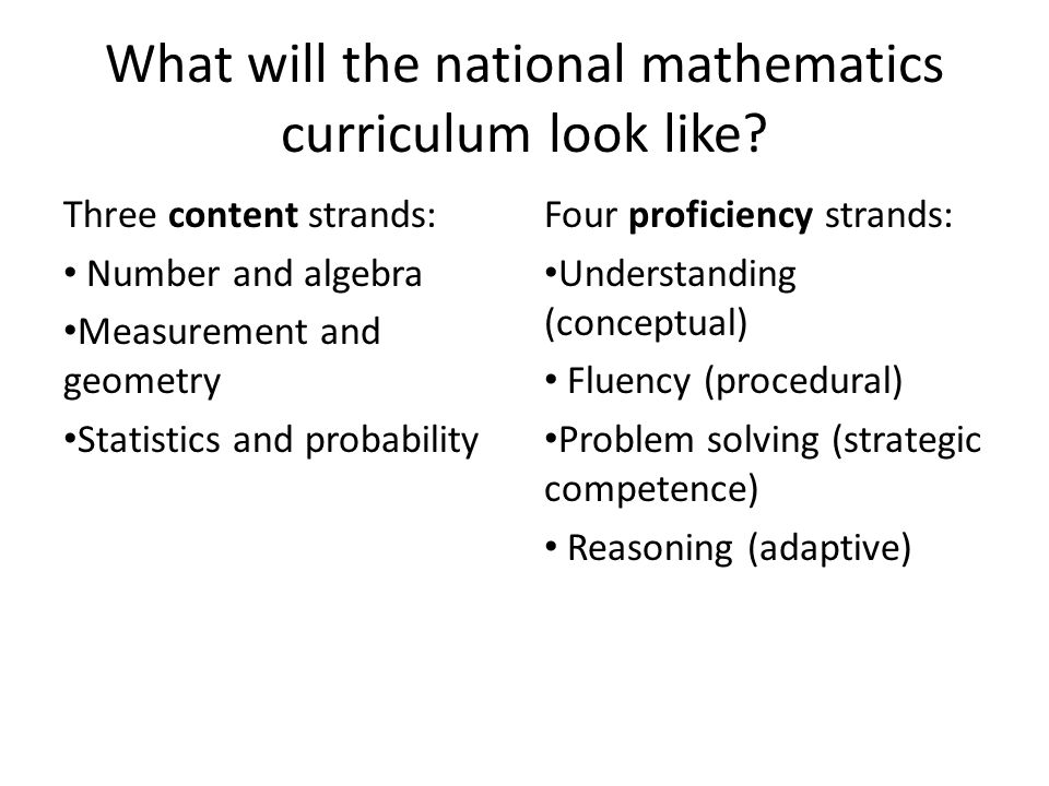What will the national mathematics curriculum look like