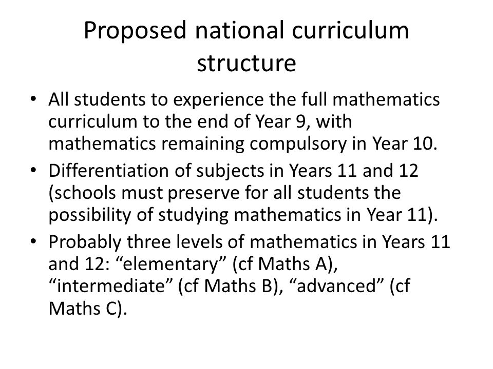 Proposed national curriculum structure