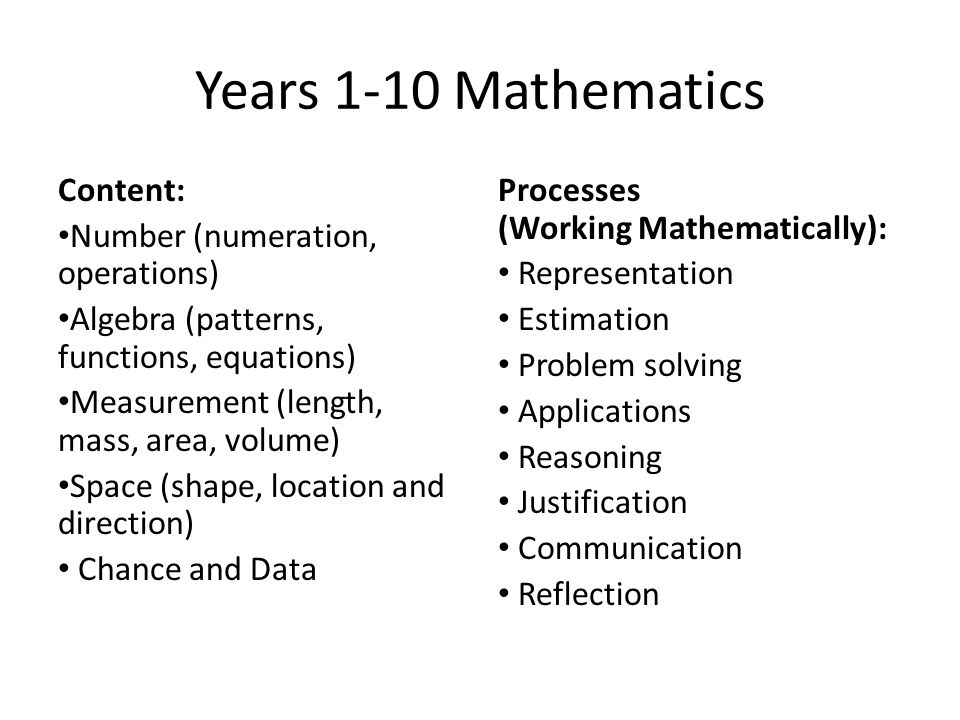 Years 1-10 Mathematics Content: Number (numeration, operations)