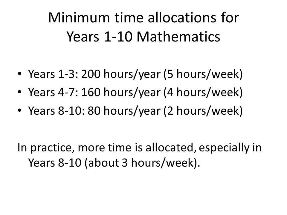 Minimum time allocations for Years 1-10 Mathematics