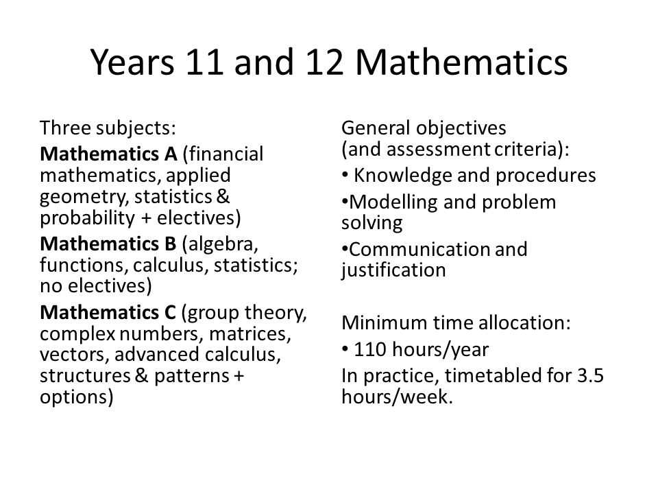 Years 11 and 12 Mathematics