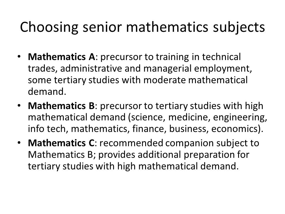 Choosing senior mathematics subjects