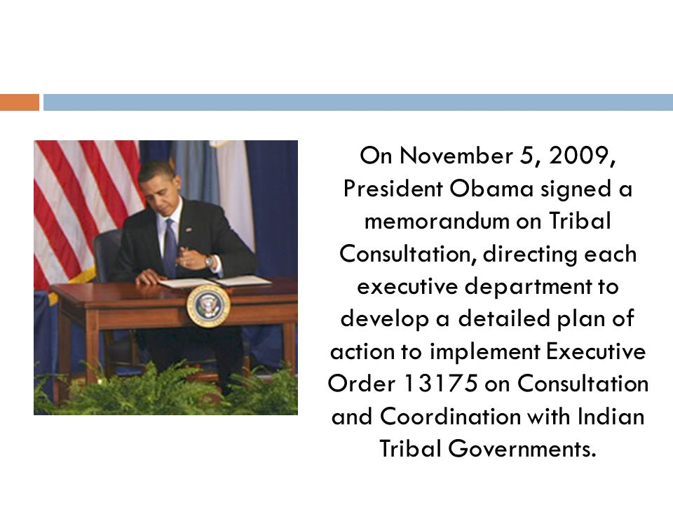 On November 5, 2009, President Obama signed a memorandum on Tribal Consultation, directing each executive department to develop a detailed plan of action to implement Executive Order 13175 on Consultation and Coordination with Indian Tribal Governments.