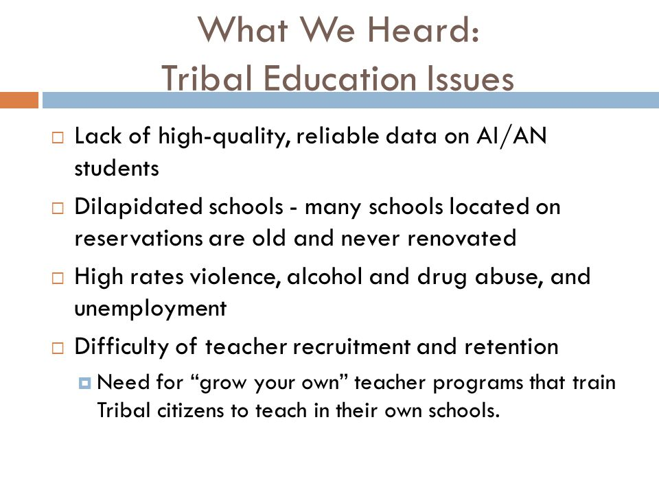 What We Heard: Tribal Education Issues