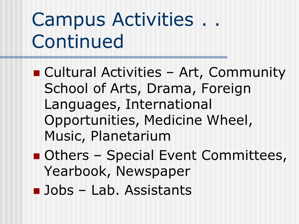 Campus Activities . . Continued