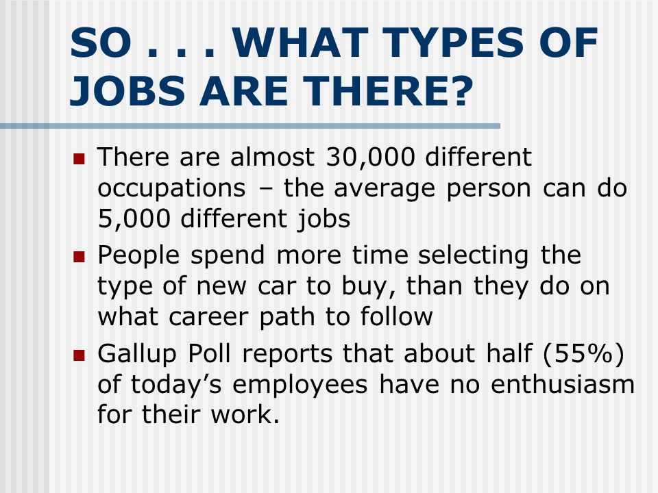 SO . . . WHAT TYPES OF JOBS ARE THERE