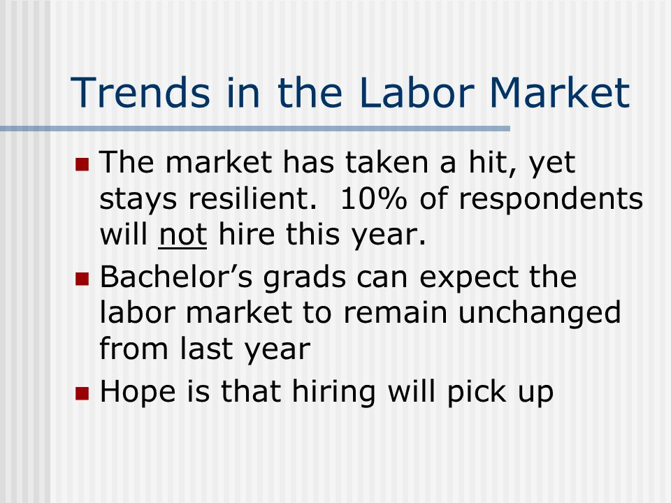 Trends in the Labor Market