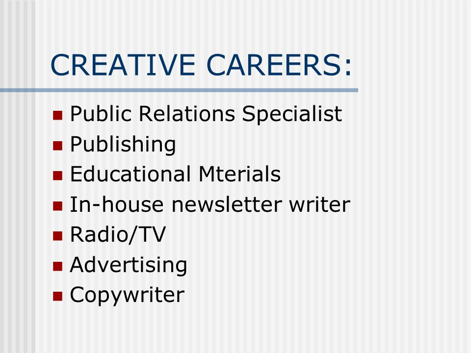 CREATIVE CAREERS: Public Relations Specialist Publishing