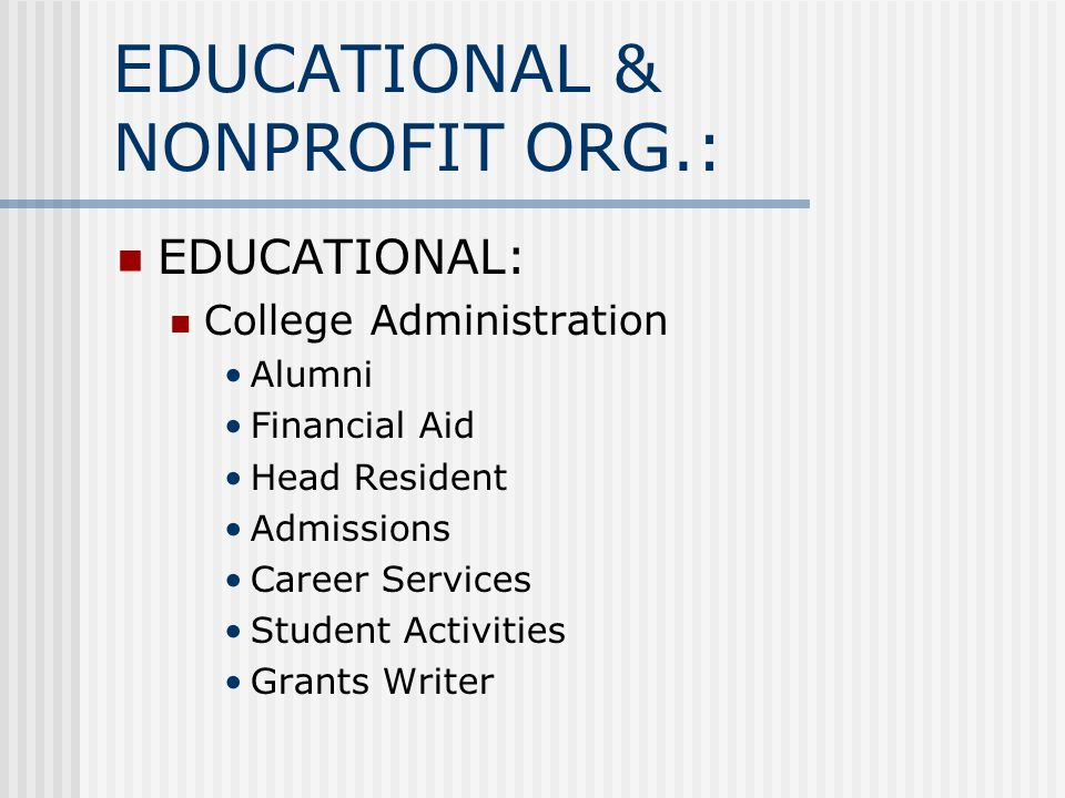 EDUCATIONAL & NONPROFIT ORG.: