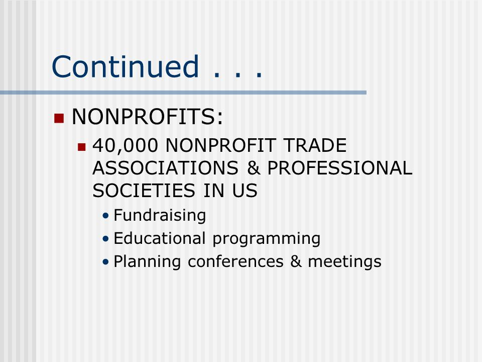 Continued . . . NONPROFITS: