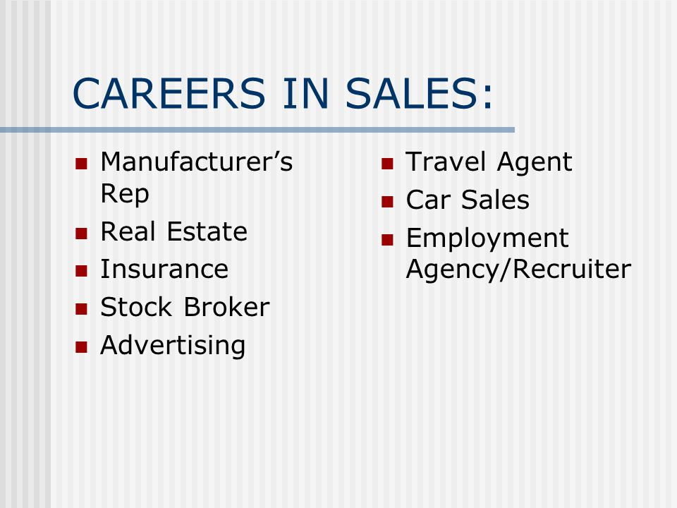 CAREERS IN SALES: Manufacturer's Rep Real Estate Insurance