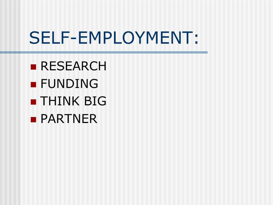SELF-EMPLOYMENT: RESEARCH FUNDING THINK BIG PARTNER