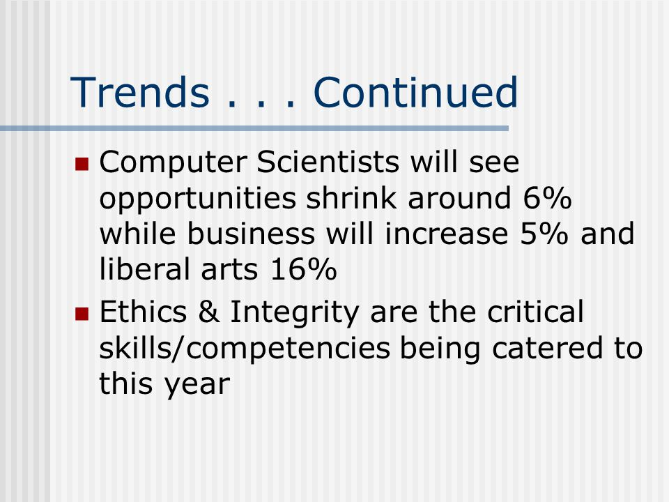 Trends . . . Continued Computer Scientists will see opportunities shrink around 6% while business will increase 5% and liberal arts 16%
