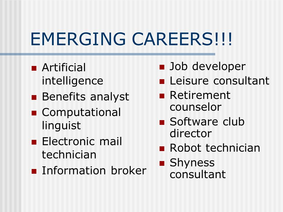 EMERGING CAREERS!!! Artificial intelligence Benefits analyst