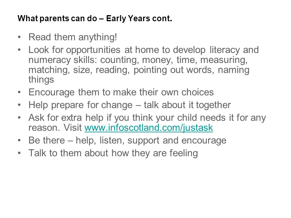 What parents can do – Early Years cont.