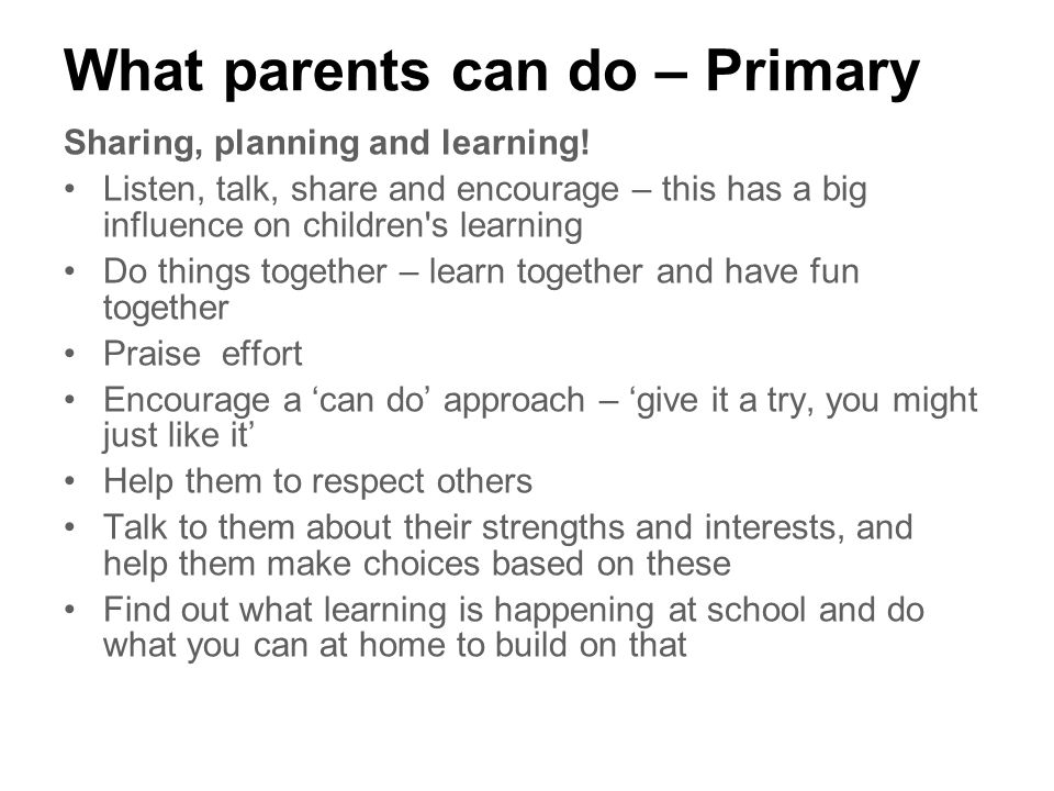 What parents can do – Primary