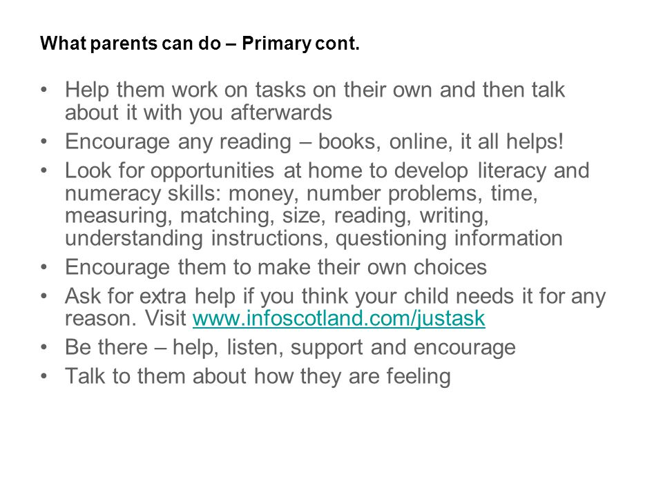 What parents can do – Primary cont.